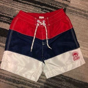 Baby Gap swim trunks bathing suit red whit blue 3T